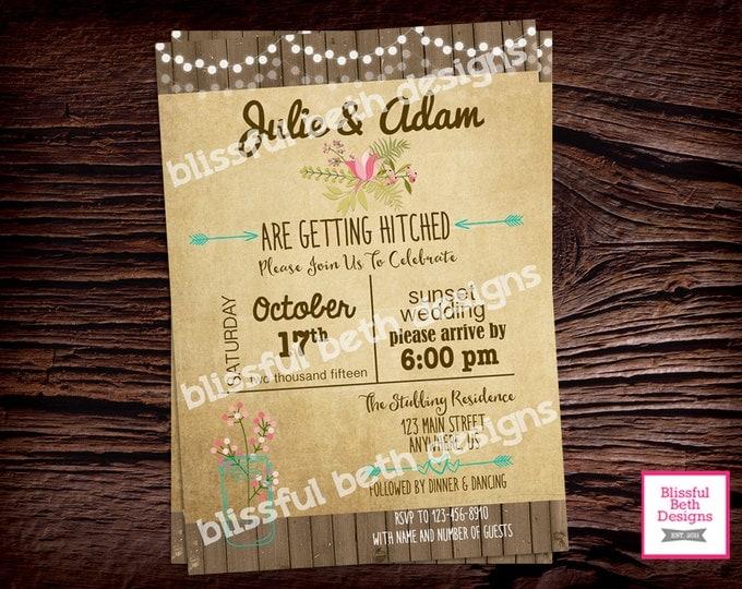 COUNTRY WEDDING INVITATION, Rustic Wedding Invitation, Wood Wedding Invitation, Country Wedding Invite, Shabby Chic Wedding Invitations