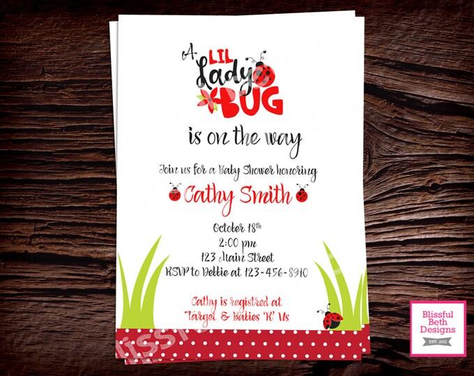 LADYBUG BABY SHOWER, Ladybug Baby Shower Invitation, Personalized Ladybug Baby Shower Invitation, Ladybug Shower, Ladybug Baby, Ladybug
