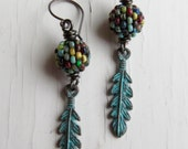 Spirit - handmade earrings, glass earrings, silver earrings, turquoise earrings, feather earrings, songbead, uk jewellery