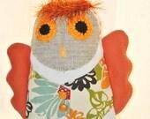 Owl Tooth Fairy Pillow. Recycled denim. Burlap. Nursery Decor. Woodland Baby Owl.