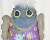 hoot Owl Tooth Fairy Pillow. Recycled denim. Burlap. Nursery Decor. Woodland Baby Owl.