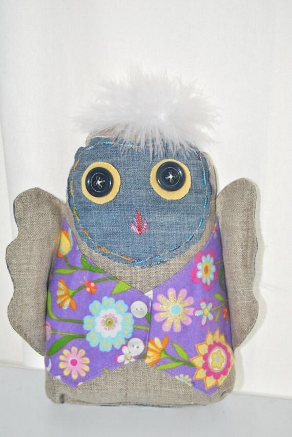 hoot Owl Tooth Fairy Pillow. Recycled denim. Burlap. Nursery Decor. Woodland Baby Owl.