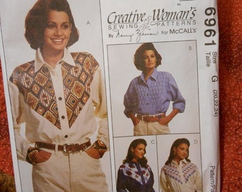McCalls 6961 Creative Womans Sewing Patterns by Nancy Zieman Long sleeved Shirts with Yoke Variations Size 20-22-24
