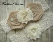 IVORY Bridal Garter Set - Keepsake & Toss Garters - Burlap Chiffon Flower Pearl Lace Garters - Rustic Country Wedding - Cream Lace Garder