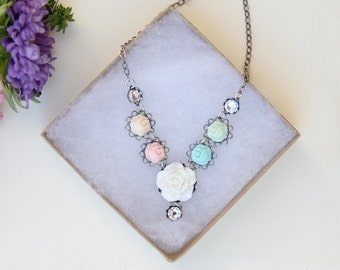 Pastel Party Necklace, Statement Necklace, Floral Jewelry, Romantic Jewelry, Shabby Chic
