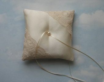 Wedding ring pillow. Cream satin and Champagne lace ring cushion.