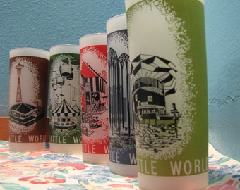 1962 Seattle World's Fair Glasses Set of Five