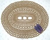 Oval Area Rug - Jute Doily Rug - Natural Fiber Rug - Crochet Patio Rug - Large Statement Rug - Doily Rug - Cabin Decor - OOAK Jute Rug