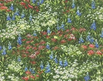 Texas Wildflowers VII Moda fabric  by the half yard 100% quilt weight cotton field of wild flowers bluebonnets  32971-11