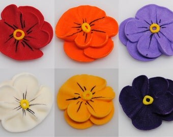 "30 - 1"" Gumpaste Pansy - Cake Topper, Cupcakes, Weddings, Sugar Flower Blossoms, Fondant Pansies Red Orange Purple Lavender White Yellow"