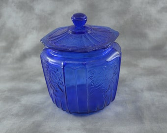Open Rose Mayfair Style Reproduction Cobalt Blue Cookie/Biscuit Jar