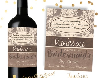 Bridesmaid Wine Label Maid of Honor Wine Label PRINTABLE Customized Shabby Chic, Rustic, Country, Vintage