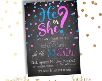 Gender Reveal Party Invitation He or She PRINTABLE