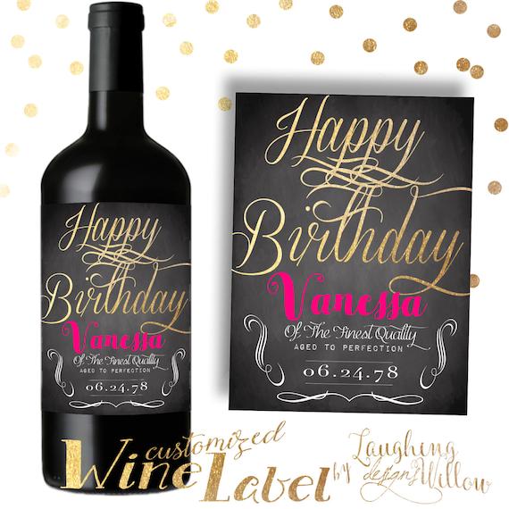 Happy Birthday Wine Label Chalkboard PRINTABLE