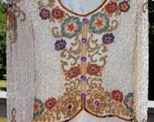 Vintage Joan Leslie Beaded Silk Evening Blouse -  Sz 4