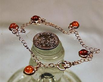 Vintage Amber or Copal  Bracelet 925 Styerling