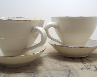 Two Porcelain Tea Cups & Saucers-Bee, Seahorse, Grasshopper, White, Gold, Black, Silver