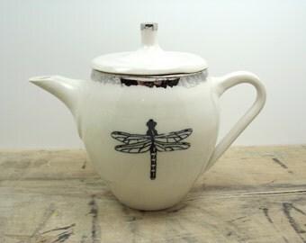Dragonfly White & Silver Porcelain Teapot-Wedding Gift, Gift for Mom, Tea Set, Dragonfly Decor