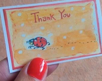 Printable Thank You Cards Ladybug, 9 printable cards, digital download