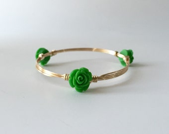 Green Flower Wire Wrapped Bangle Bracelet