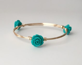 Teal Rose Wire Wrapped Bangle Bracelet