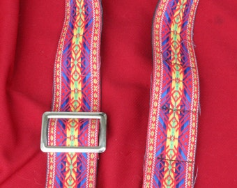 1970's Vintage Hippie Woven Wide Colorful Camera Strap