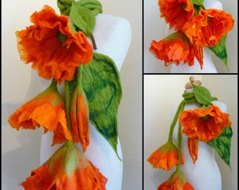 felted scarf necklace flower, felted flower necklace, felted wool, art to wear scarf, lariat, orange,MADE TO ORDER lagenlook, layering look