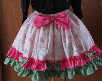 Sweet Lolita Skirt Pink Kawaii Cupcake Skirt Teddy Bear