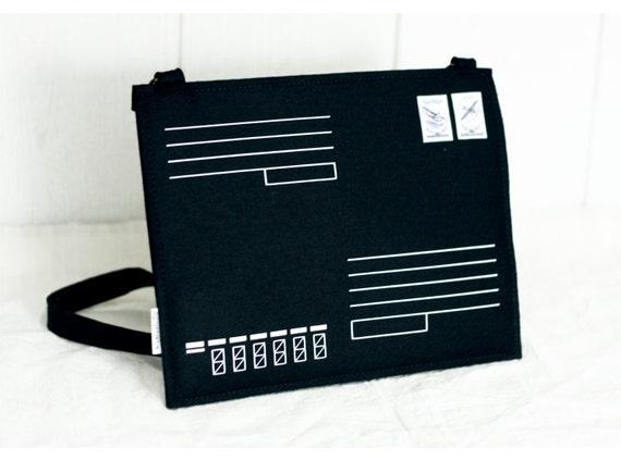 SALE Black Felt Post Envelope Bag