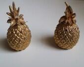 Pineapple Salt & Pepper Shakers Gold Gilded Pineapples Pineapple Decor Table Decor Wedding Decor Gold Pineapples
