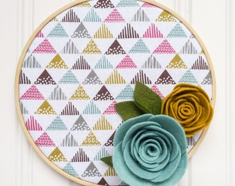 Felt Flower Embroidery Hoop Wall Art