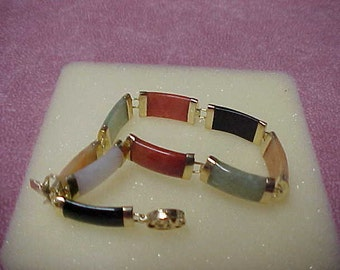 "Vintage Jadeite Bracelet, Multi Color Links, 7.5"", 11.6 Gram, 14K Yellow Gold Caps and 14k Box Clasp"