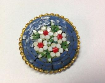 Blue Mosaic Brooch Pin