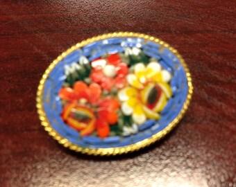Lovely Blue Mosaic Brooch Pin