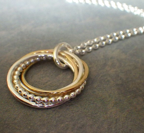5 Rings Necklace Interlocking Rings 50th Birthday By
