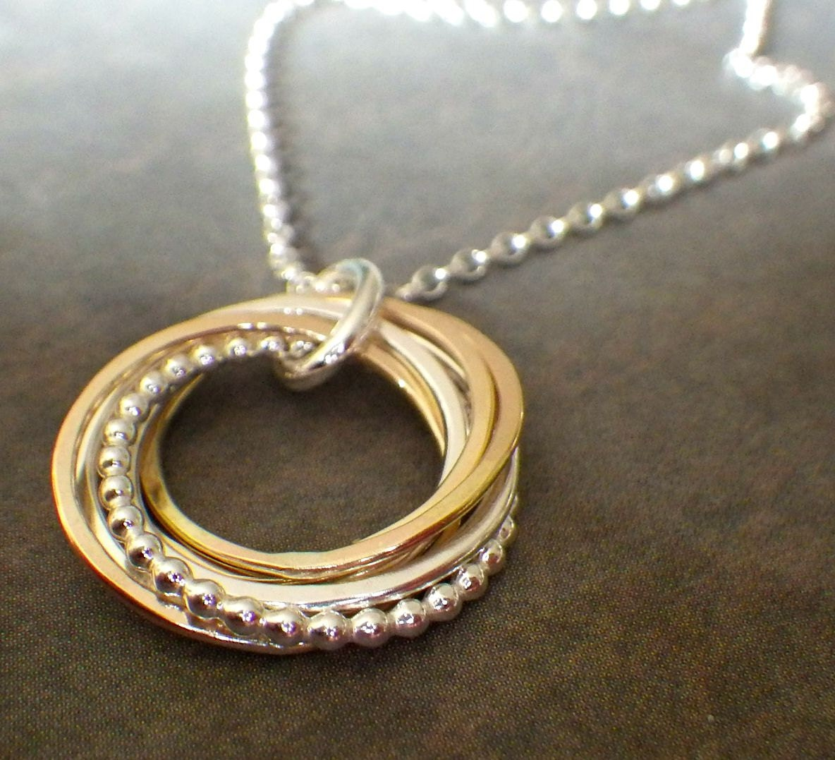 7 Rings Necklace Interlocking Rings 70th Birthday By
