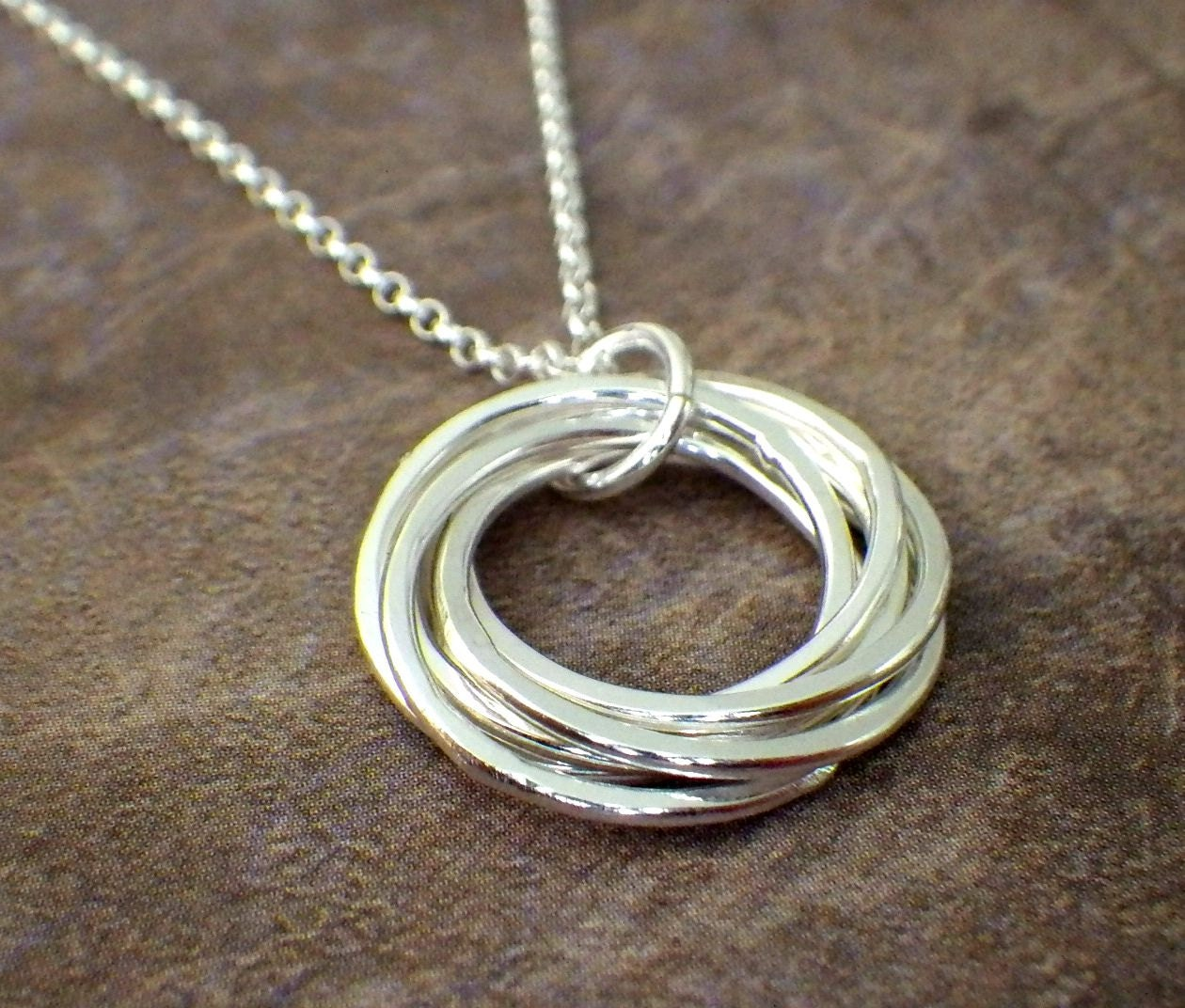 7 rings necklace interlocking rings 70th birthday necklace