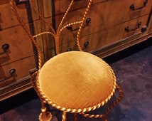 ITALIAN TWISTED ROPE and Tassel Metal Chair With Gold Cushion Luxurious Feminine Italian Villa Chic Dressing Vanity Chair