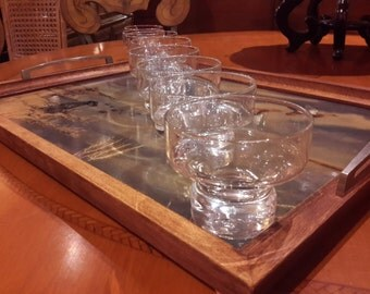 BARWARE GLASSWARE Set of 8 Clear Cocktail Lowball Glasses Footed Stylish Old Fashioned Bar Liquor Glass