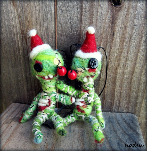 Zombie Ornament Needle Felted Weird Decorations Creepy