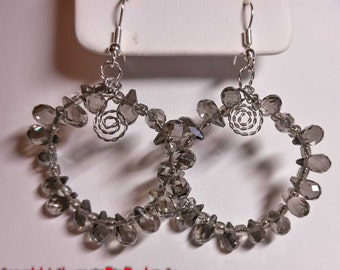 Bling Gray Crystal Earrings - Round Bling Teardrops Silver