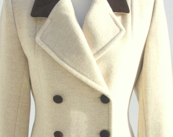 Cream Double Breasted Woollen Coat, French Vintage Coat, Timeless Coat Women French