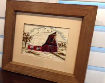 Framed 3D Floral crewel embroidery pictures from the 1970s barns