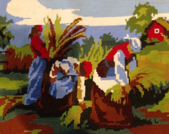 Squirrel in autumn leaves needlepoint