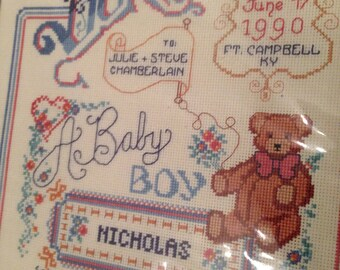 Baby announcement Cross stitch KIT complete ceras victorian birth record with DMC floss