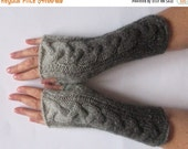 regular price Fingerless Gloves Gray Black wrist warmers