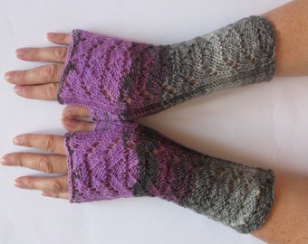 Fingerless Gloves Dark Gray Violet Purple Gray Long Mittens Arm Warmers Acrylic Wool