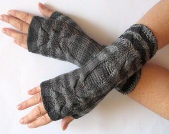 Fingerless Gloves Black Gray wrist warmers