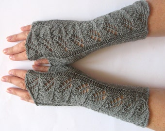"Gray Fingerless Gloves Mittens light gray 10"" Arm Warmers , Soft acrylic, wool"