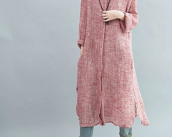 Women Single breasted Loose Fitting Long Maxi Dress/ autumn long dress/ long shirt/ Women gown